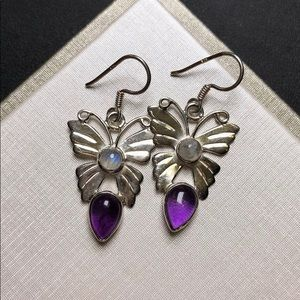 Moonstone and amethyst sterling silver earring